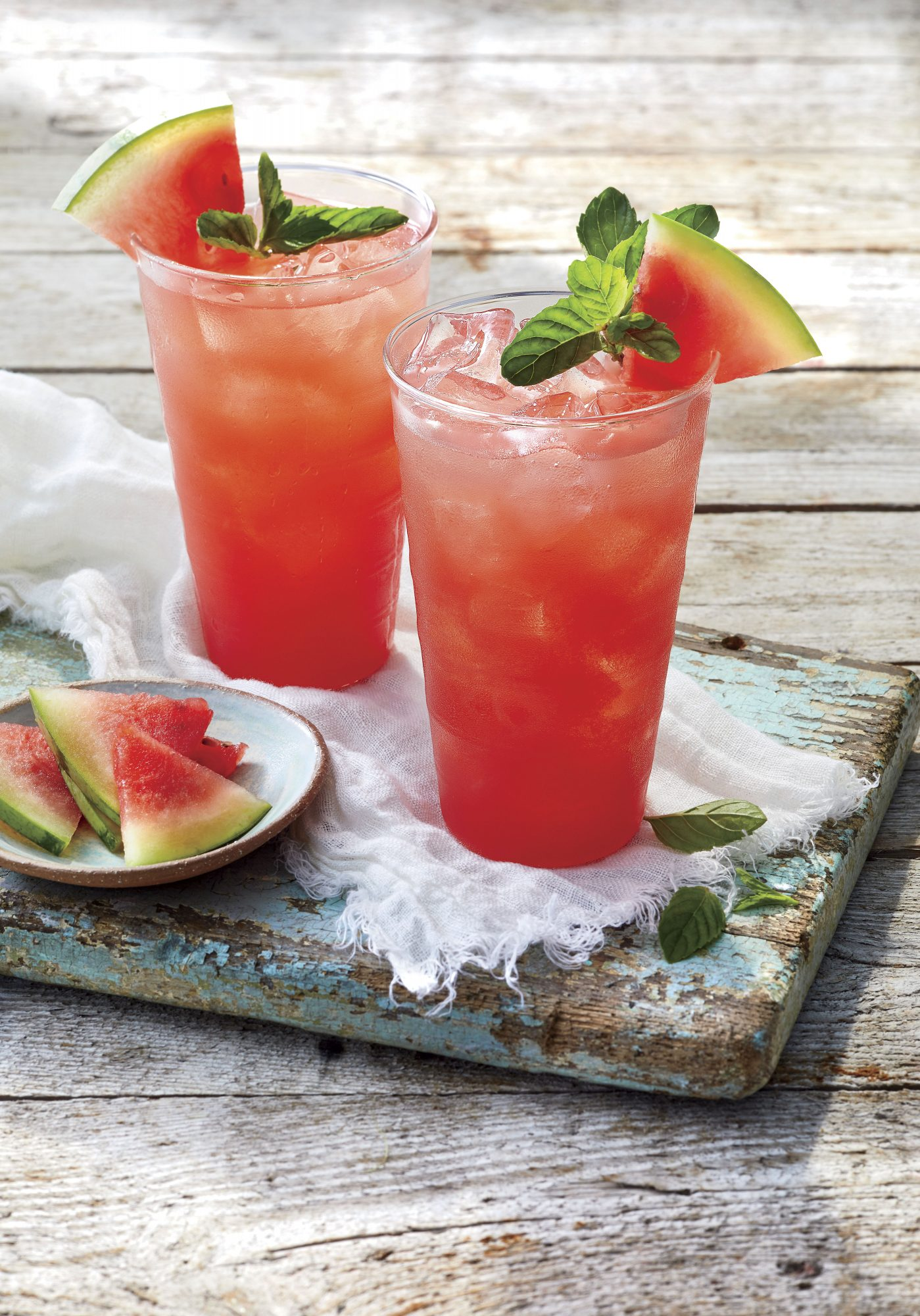 Watermelon, mint, lime and ginger recipe (my yellow table)