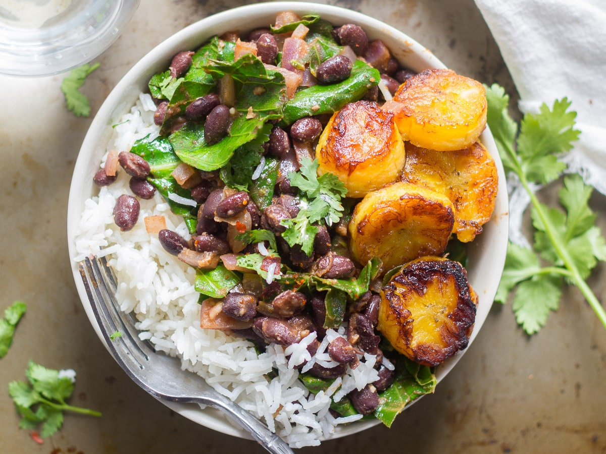 Black beans in Cuban style with rice and plantains