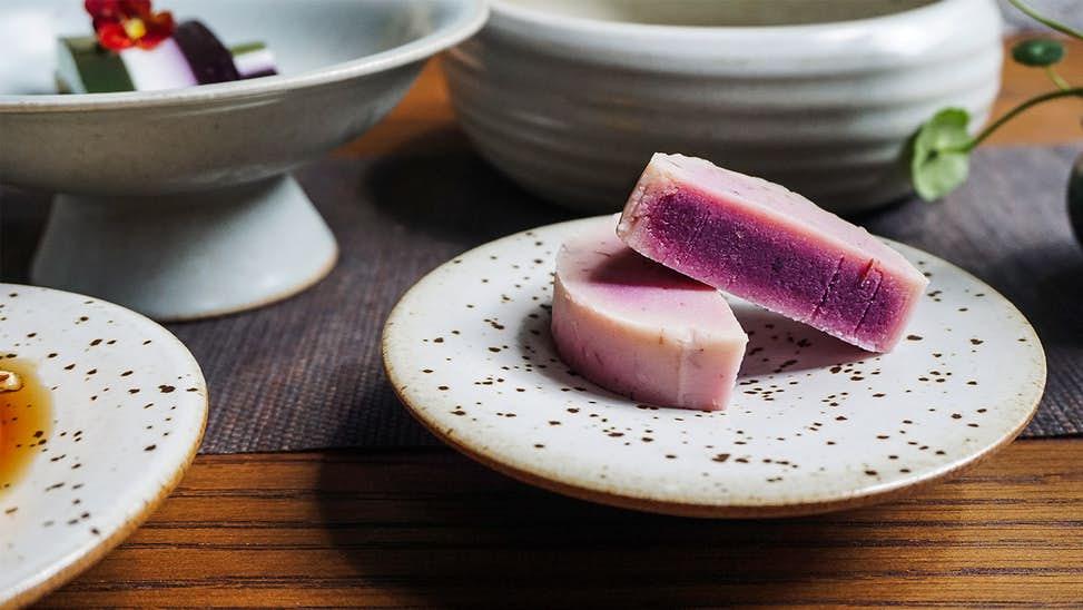 Purple sweet potato and cranberry tea cakes