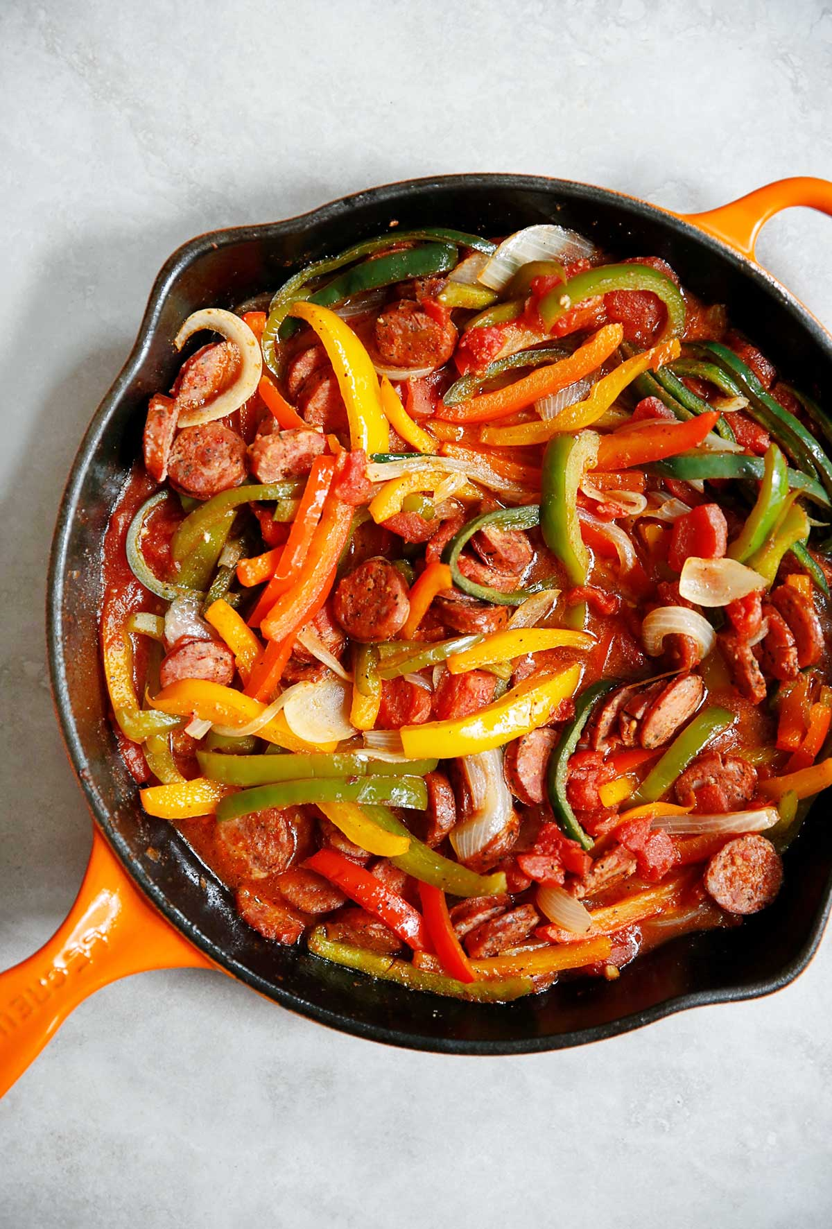 Italian sausage, bell pepper and onions